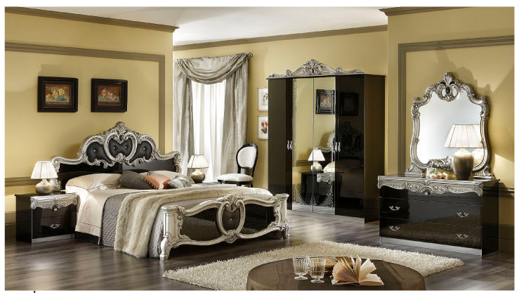 Barocco Black Silver amp Gold Camel Bedroom Set By ESF