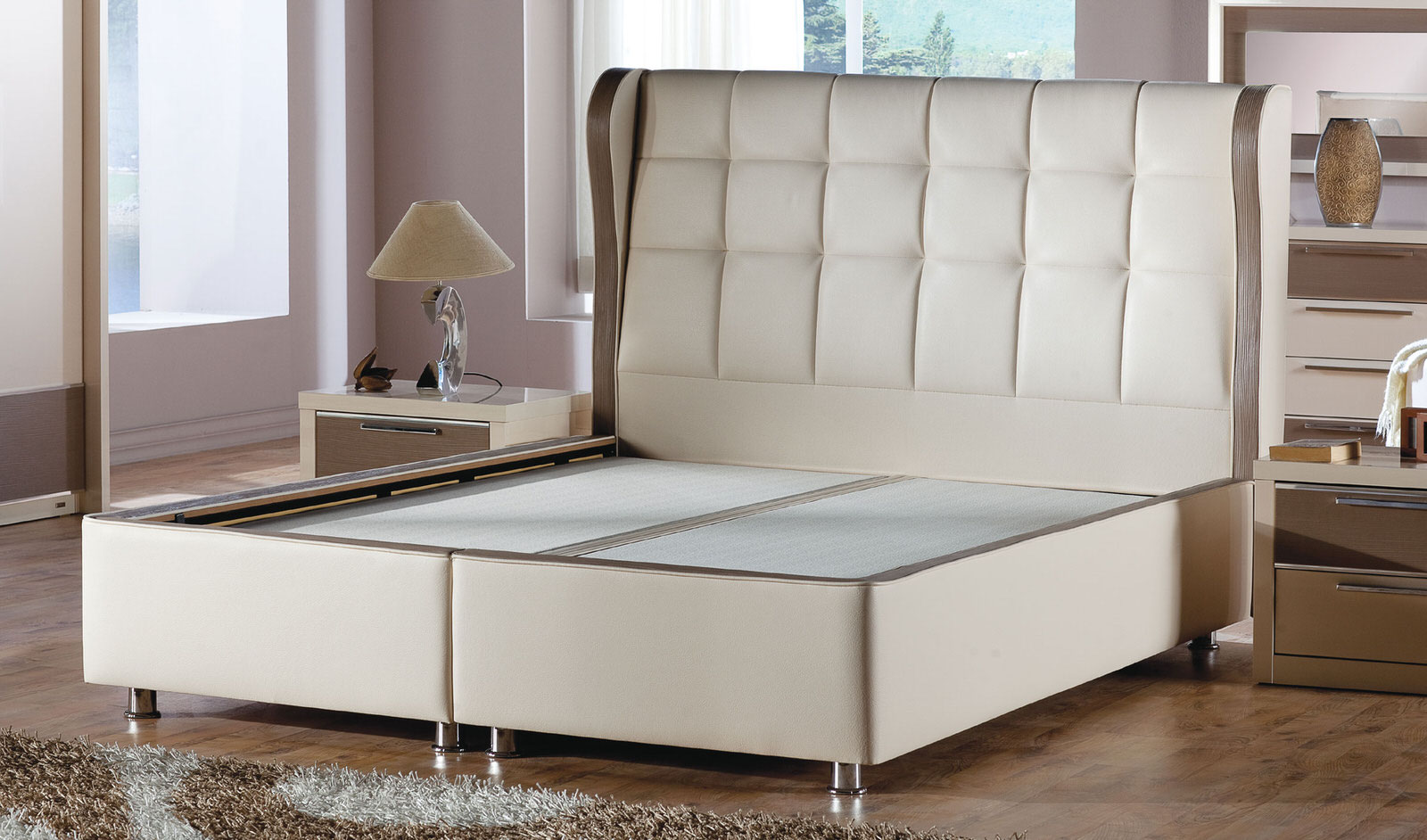 Bolivia Platform Bed W Headboard Queen Size Polo Cream By Istikbal Sunset