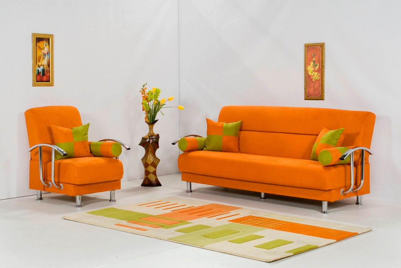 Brenda Orange Sofa Bed