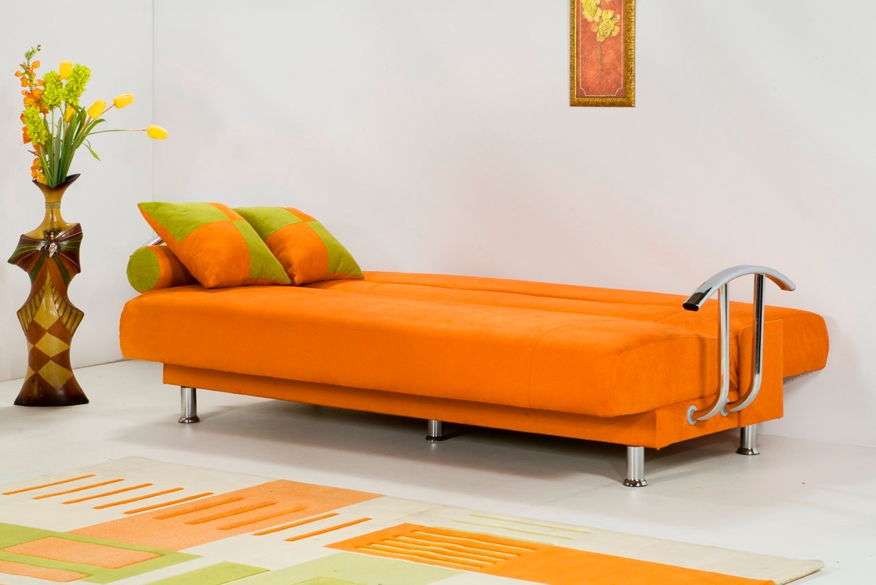 Brenda orange sofa bed by kilim Couch and bed