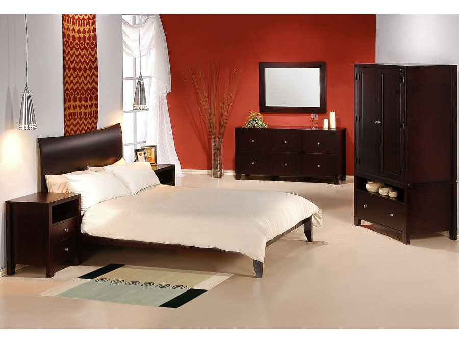 . Retro Bedroom Set Cappuccino Finish