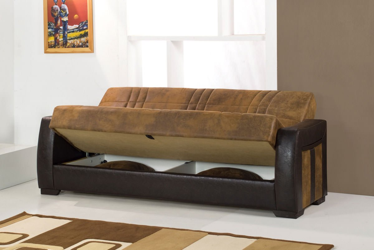 Deborah ares suede rusty micro suede sofa bed by kilim for Suede furniture
