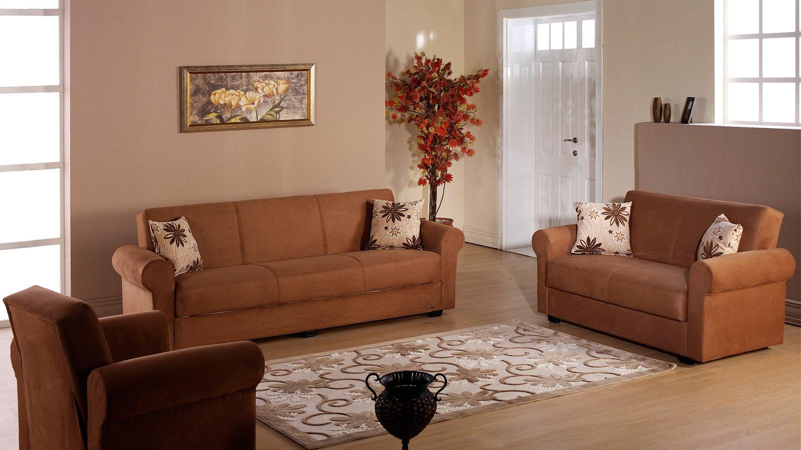 Elita S Rainbow Brown Sofa Love Chair Set by Sunset