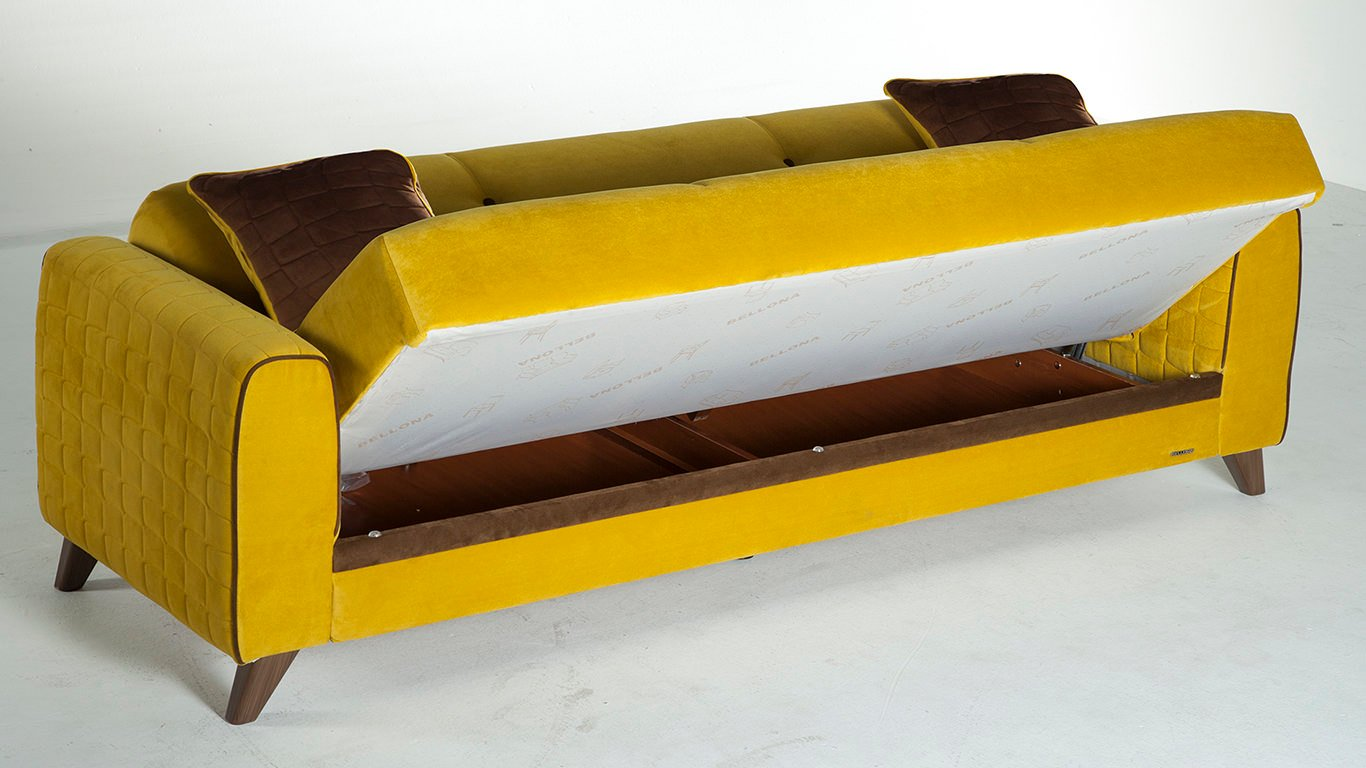 Fabio lilyum yellow convertible sofa bed by sunset for Yellow sofa