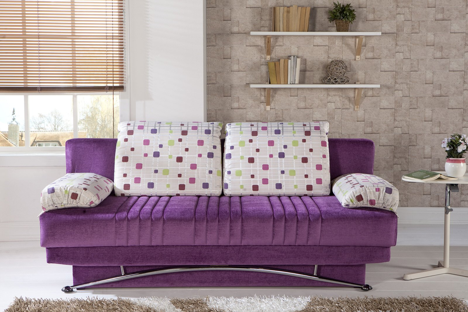 Fantasy Corbin Purple Convertible Sofa Bed By Sunset