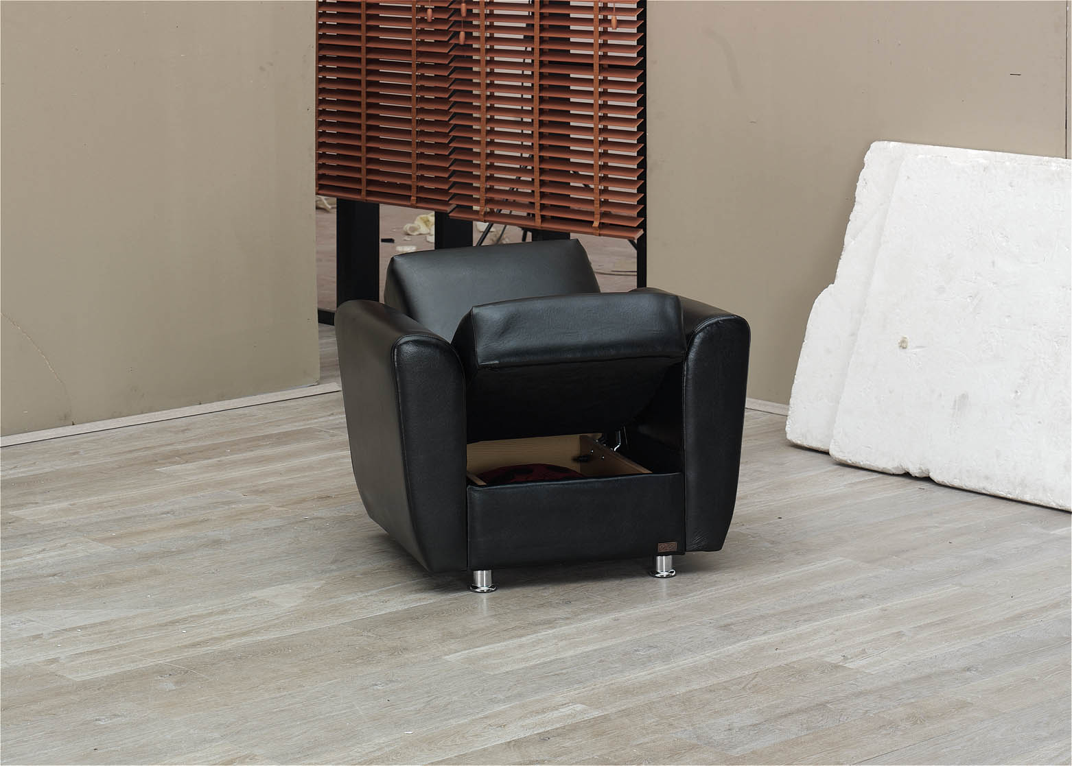 Harlem Black Leather Chair by Empire Furniture USA