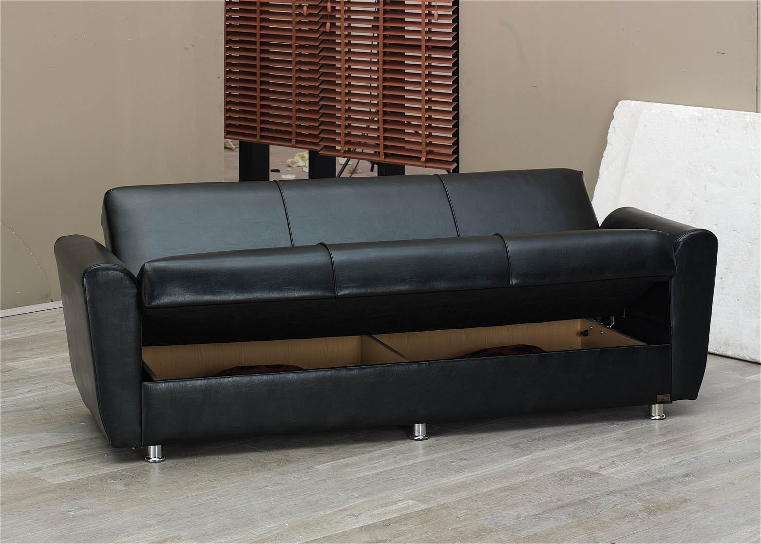 Harlem Black Leather Sofa Bed By Empire