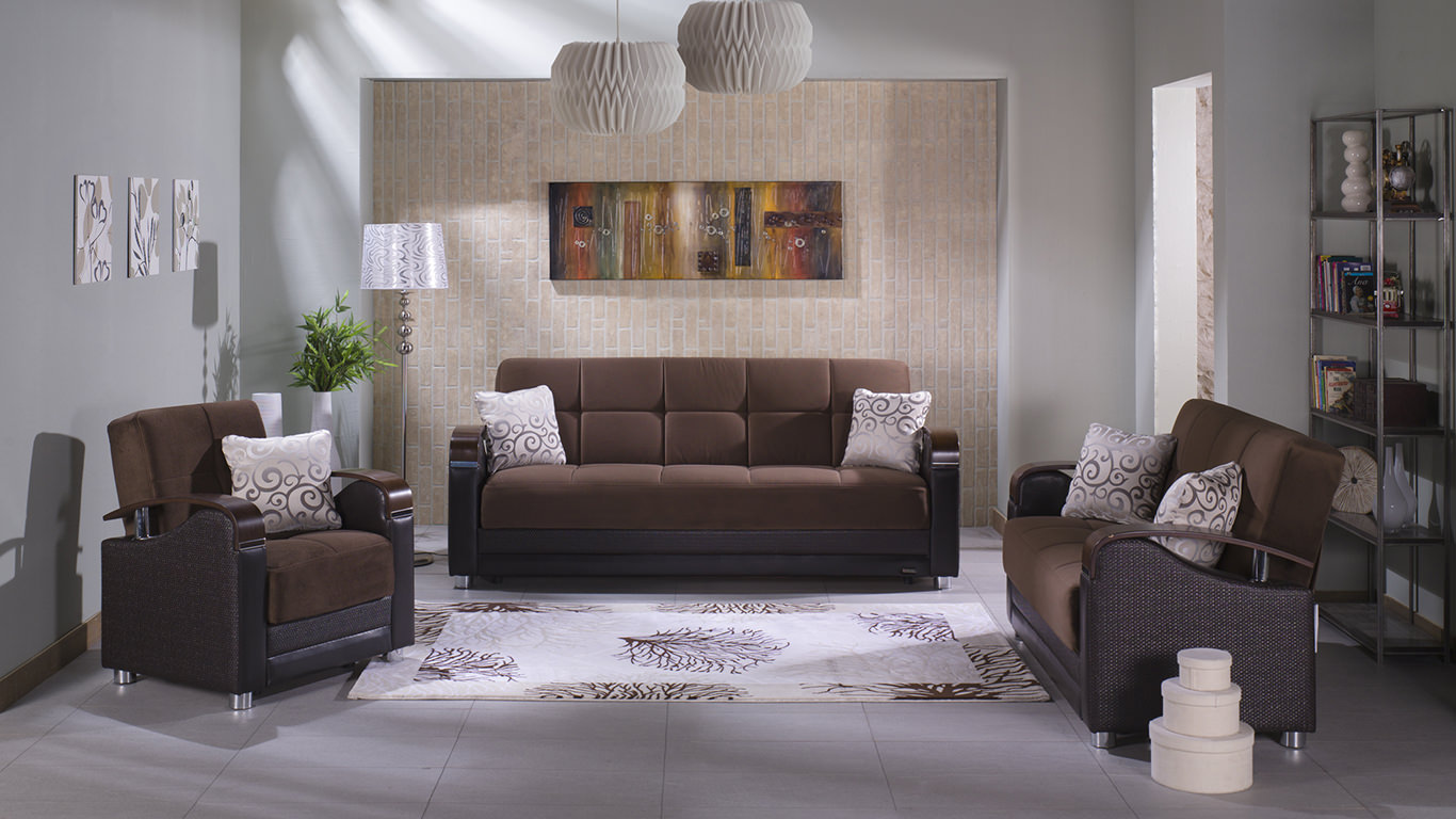 Luna Naomi Brown Convertible Sofa Bed By Istikbal Sunset