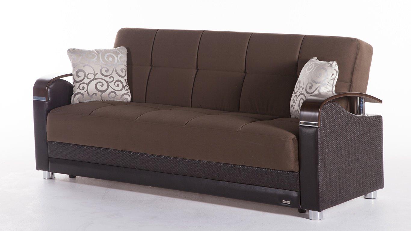 luna naomi brown convertible sofa bedsunset