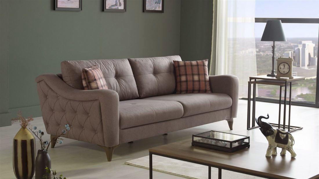 Malpensa Kasmir Cream Convertible Sofa Bed By Istikbal Furniture