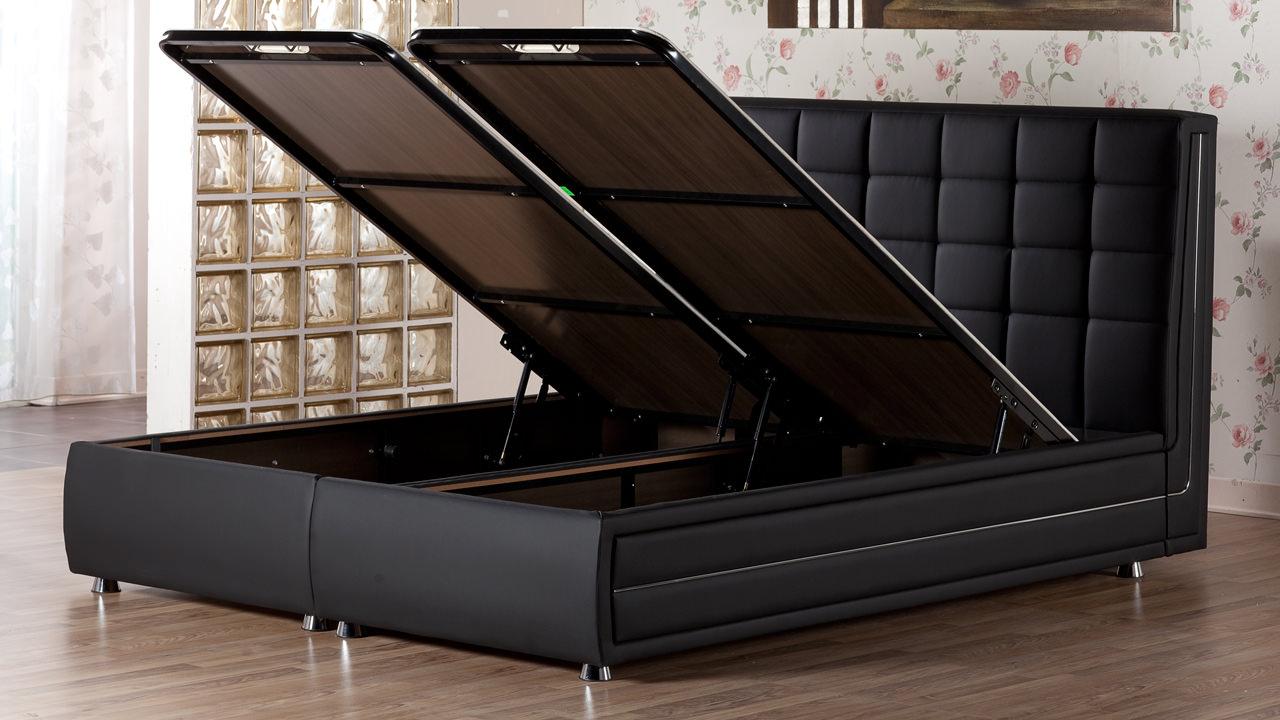 marsilya platform bed w headboard queen size escudo black by sunset. Black Bedroom Furniture Sets. Home Design Ideas