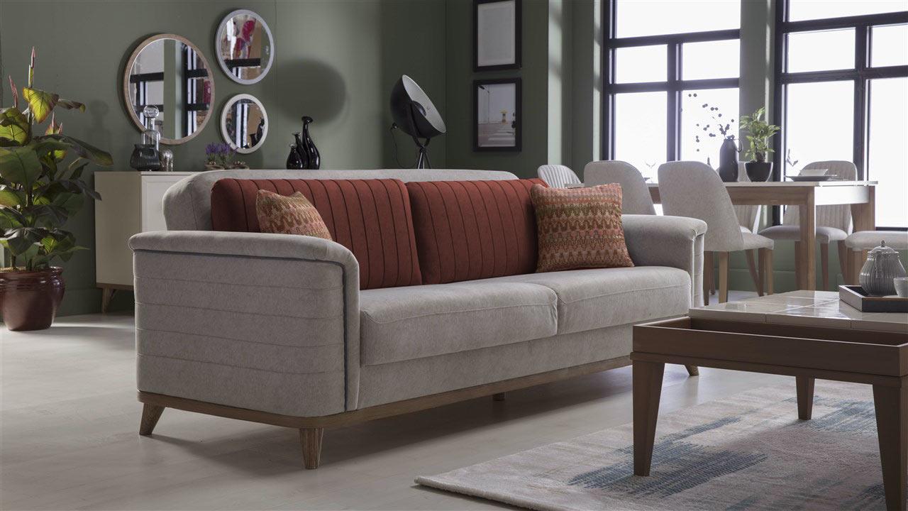 Mavenna Carina Stone Zero Wall Convertible Sofa Bed By Istikbal