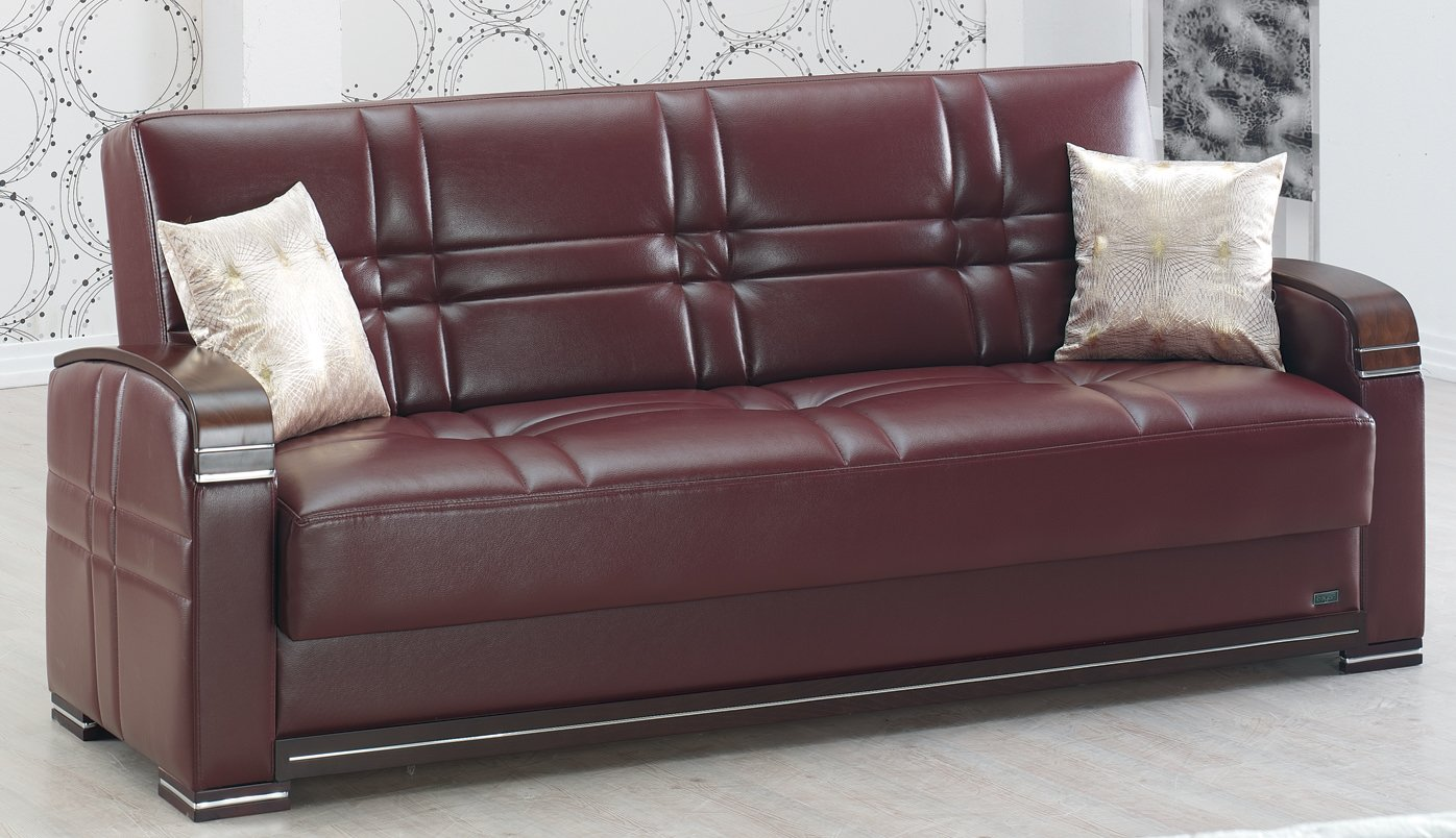 Manhattan Burgundy Leather Sofa Bed by Empire Furniture USA
