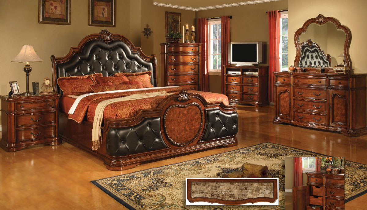 Coronado Cherry w/Marble Top Bedroom Set by Mainline