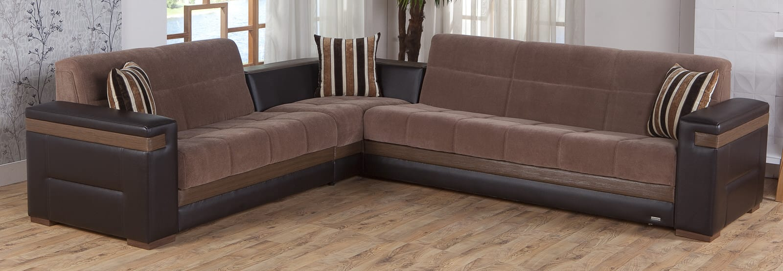 Moon troya brown sectional sofa by istikbal sunset