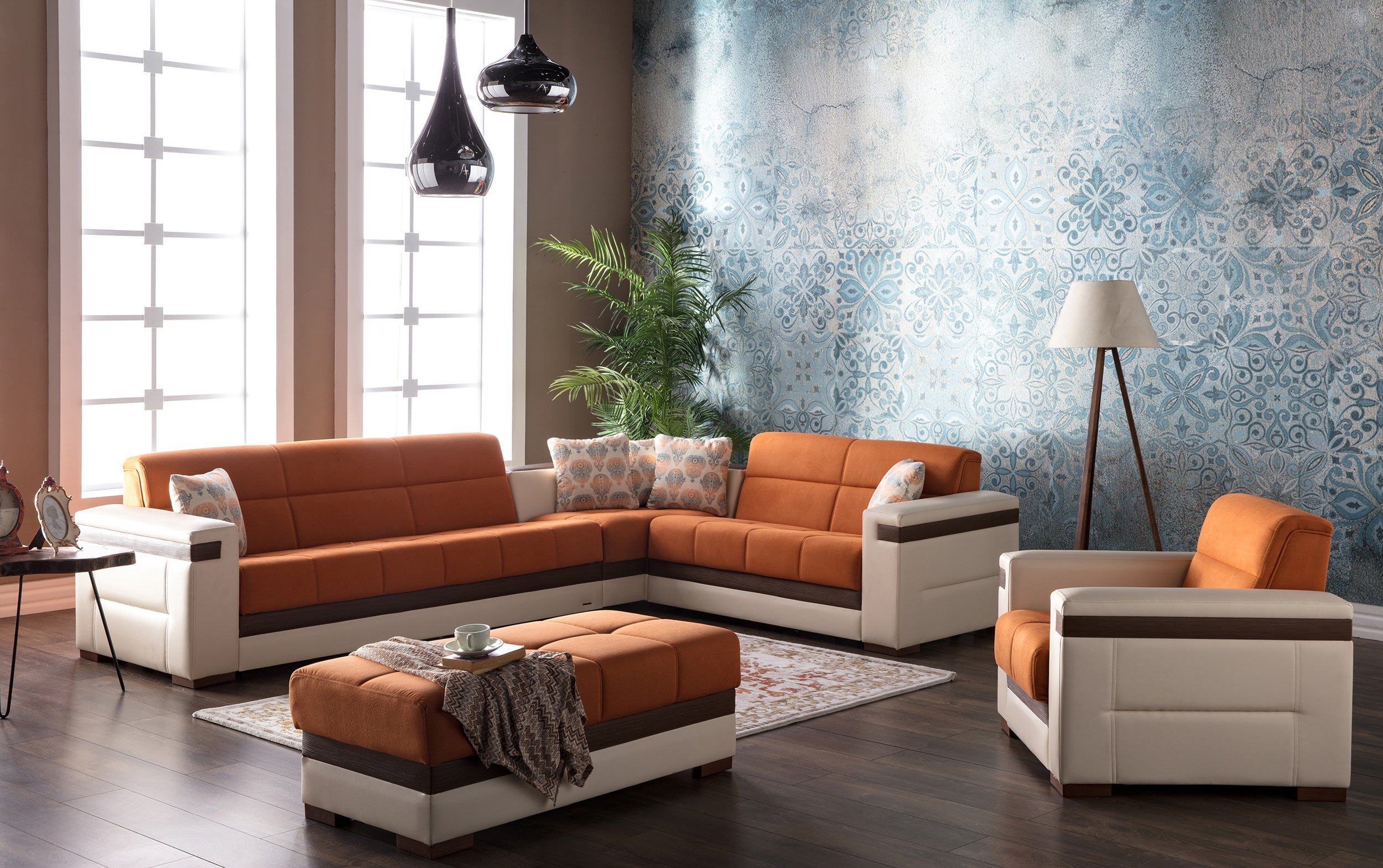 Moon Zigana Orange Sectional Sofa by Sunset
