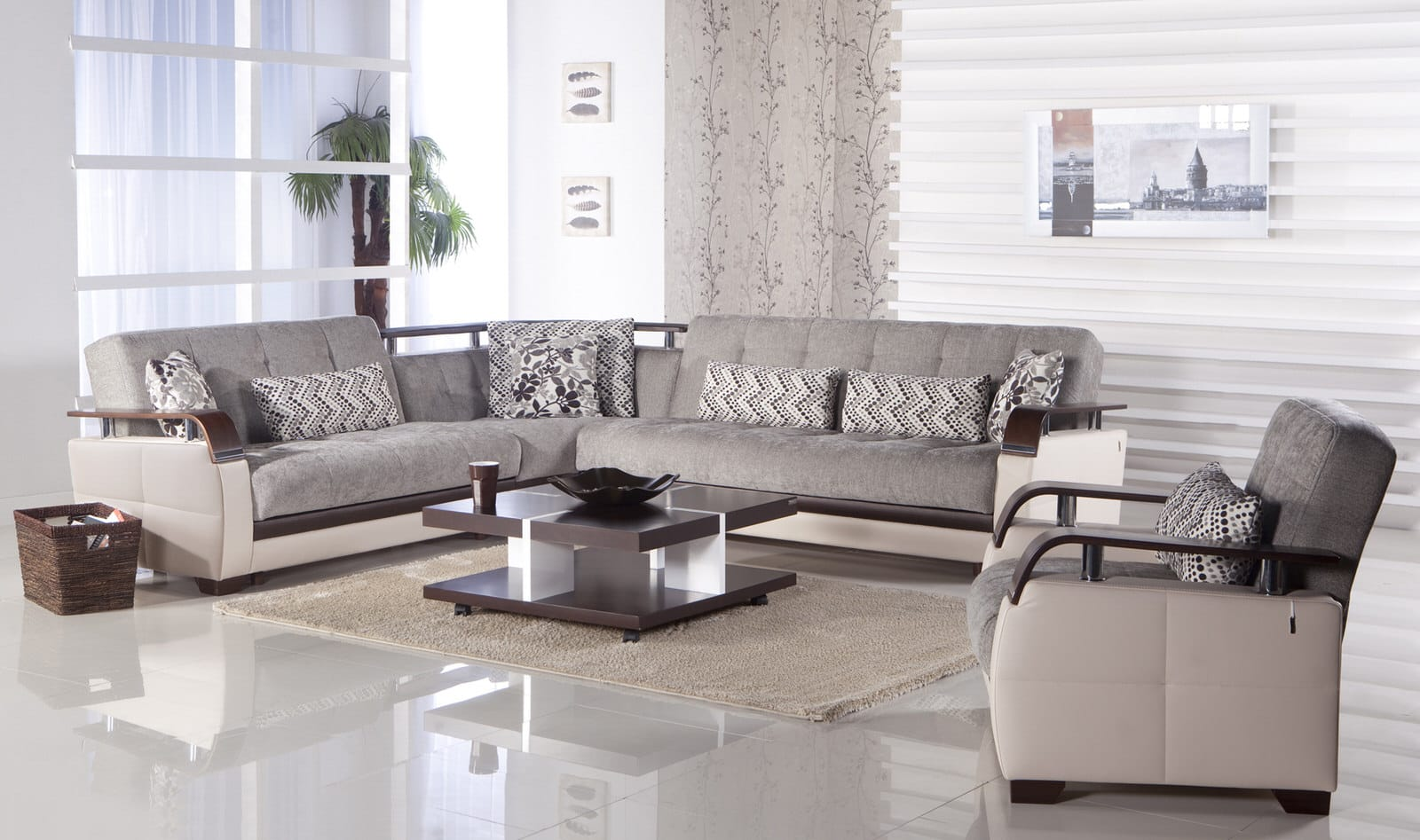 Natural Valencia Gray Sectional Sofa By Istikbal Furniture
