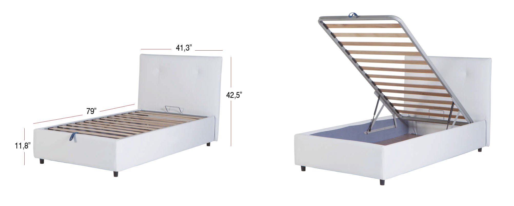 Osaka Lift Up Storage Bed Leather Textile Twin by Sunset