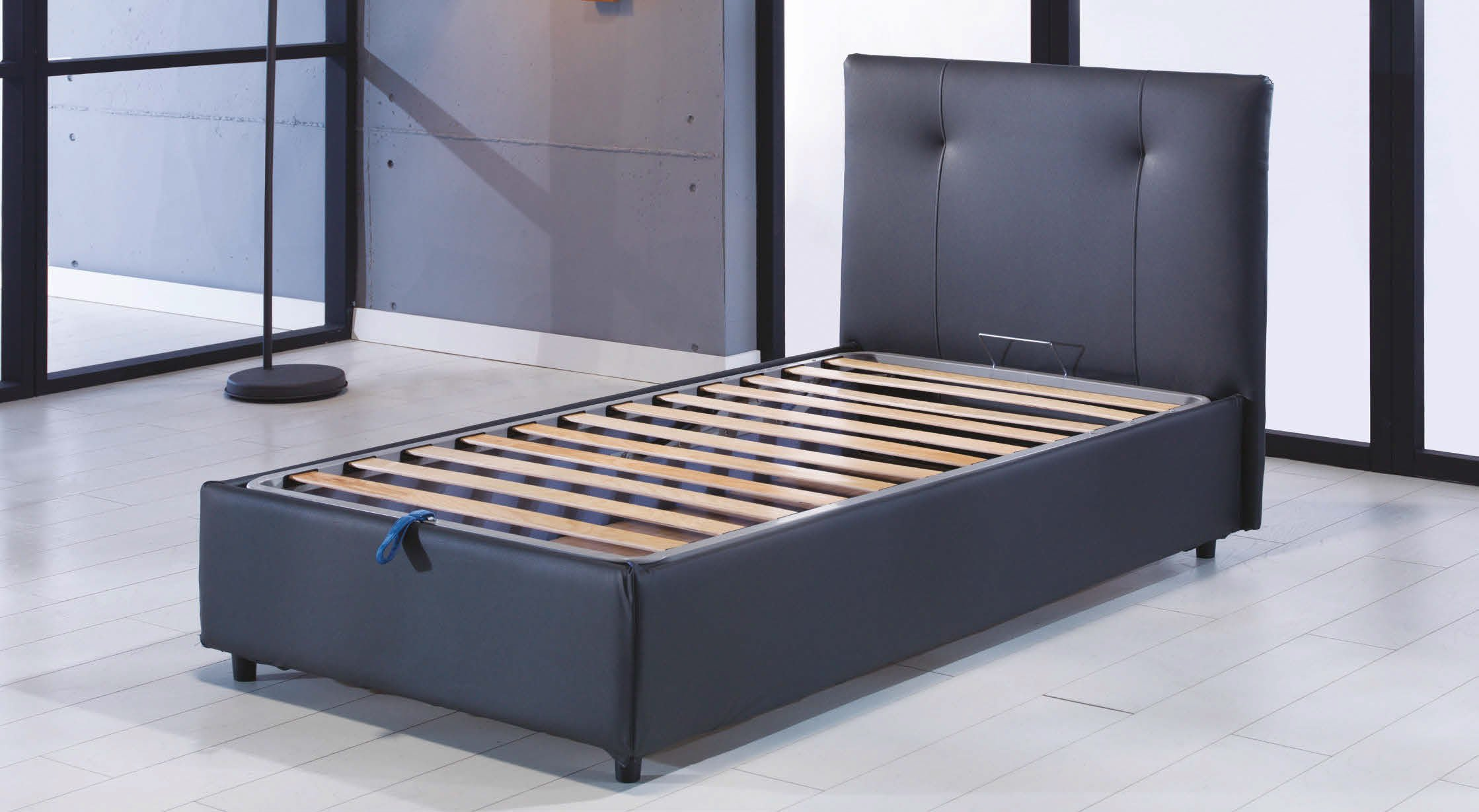 Osaka lift up storage bed leather textile twin by sunset - Lift up storage bed ...