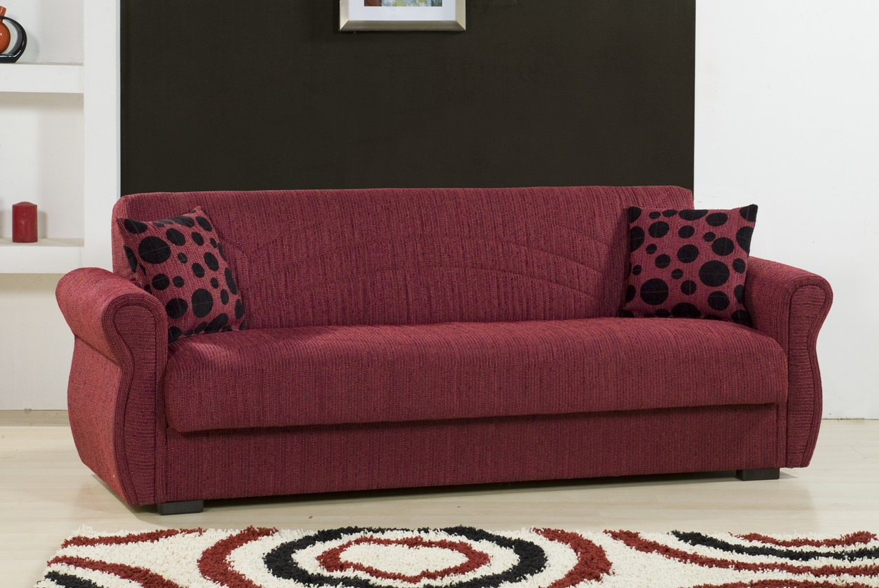 Rain Chenille Maryposo Burgundy Sofa Bed