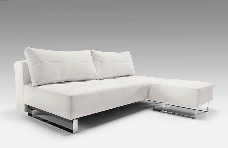 Supremax Deluxe Excess Lounger Sofa Bed White Leather Textile by Innovation