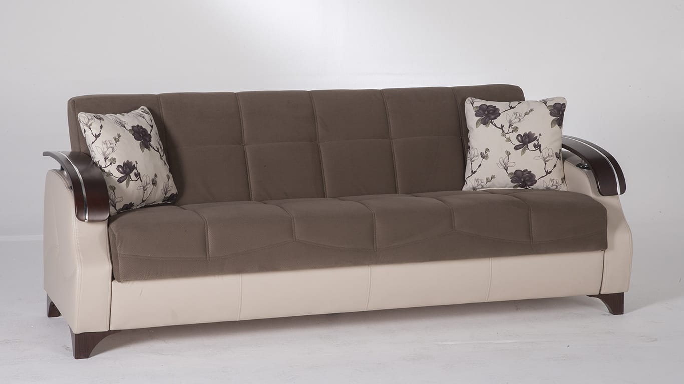 Trento selen brown convertible sofa bed by istikbal sunset for Divani letto trento