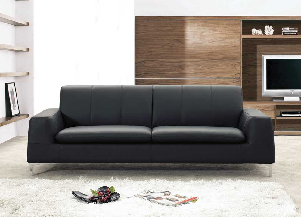 Tribeca Leather Black Sofa By J Amp M Furniture