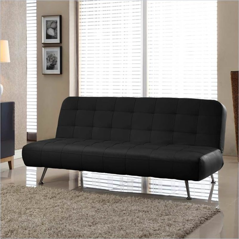 Tribeca Euro Sofa Bed Bonded Leather Black By Lifestyle