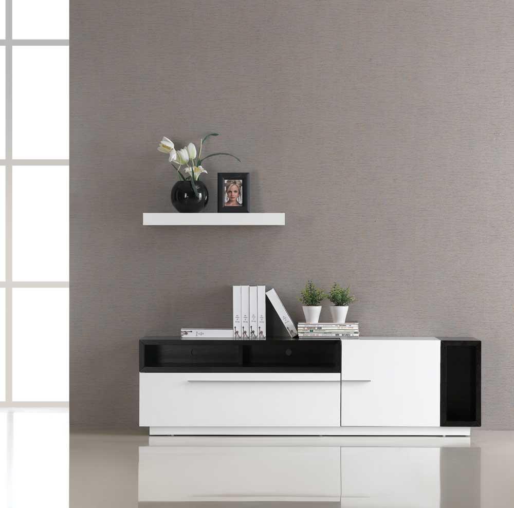 TV030 White Gloss Dark Oak TV Stand Black by J&M Furniture