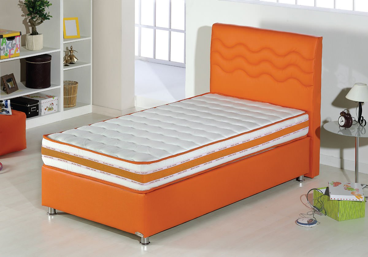 Twinjoy Platform Bed W Headboard Twin Xl Size Orange By Sunset