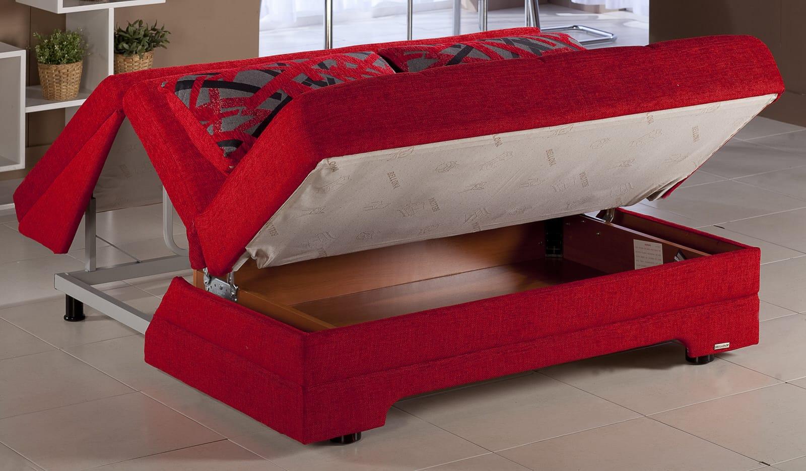 Twist Story Red Loveseat Sleeper By Istikbal Furniture