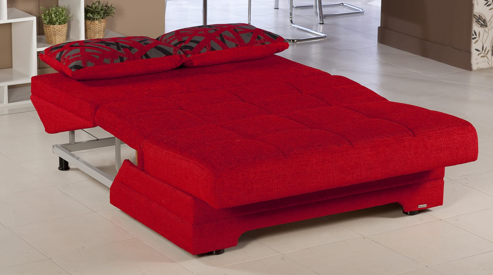 Twist story red loveseat sleeper by sunset Red sofas and loveseats