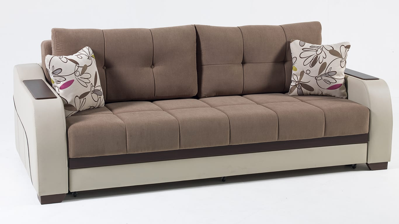 Ultra Optimum Brown Convertible Sofa Bed By Istikbal Sunset