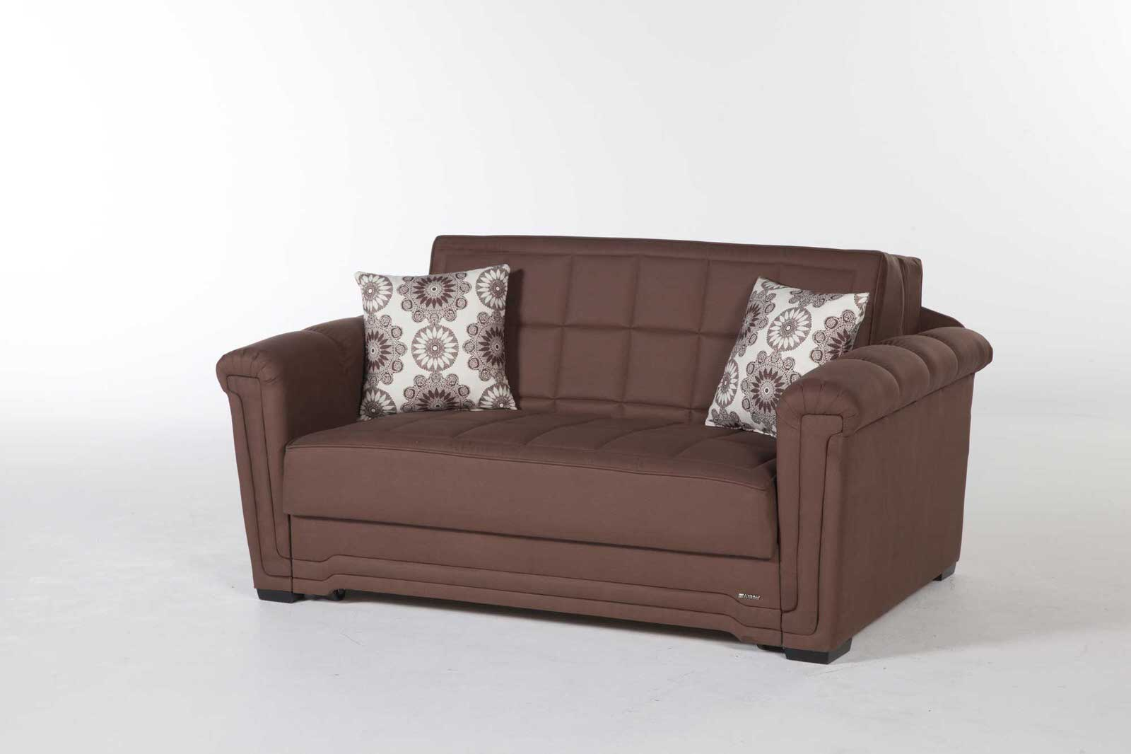 Victoria Obsession Truffle Microfiber Loveseat Sleeper By