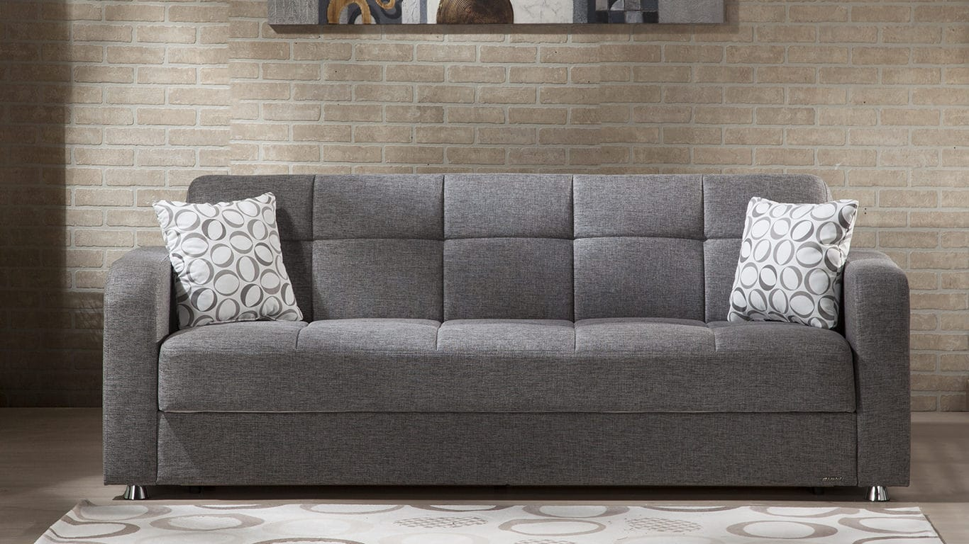 Vision diego gray convertible sofa bed by istikbal sunset for Sofa bed 3 2