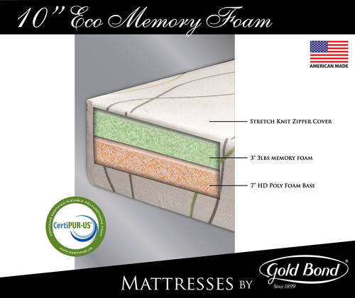 Eco 10 Inch Memory Foam Mattress By Gold Bond