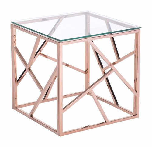 Cage Side Table Rose Gold By Zuo Modern