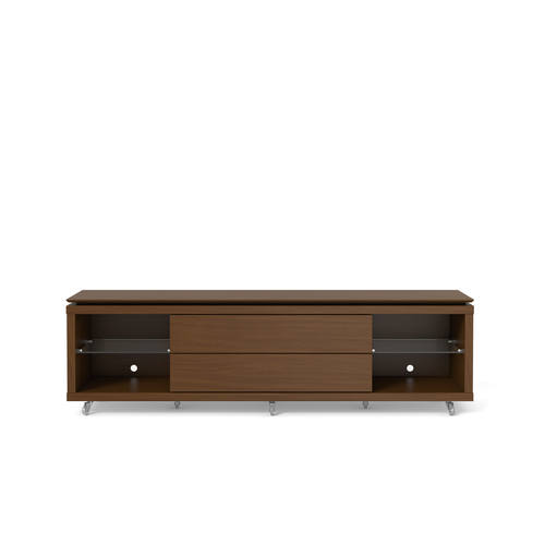 Lincoln Nut Brown Tv Stand 1 9 W Silicon Casters By Manhattan Comfort