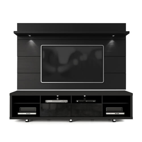 Cabrini Black Tv Stand Floating Wall Tv Panel W22 Led Lights By