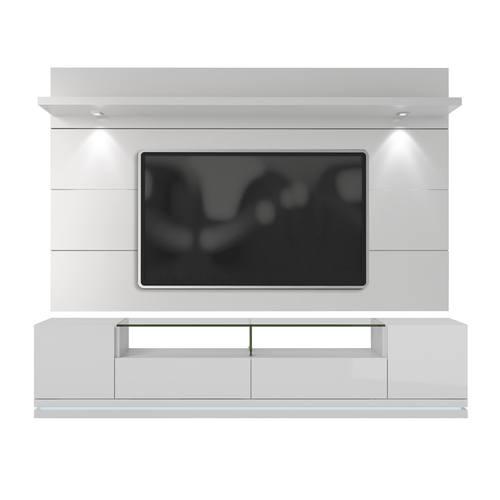 Vanderbilt White Gloss Tv Stand Cabrini 2 Floating Wall Panel W Led Lights