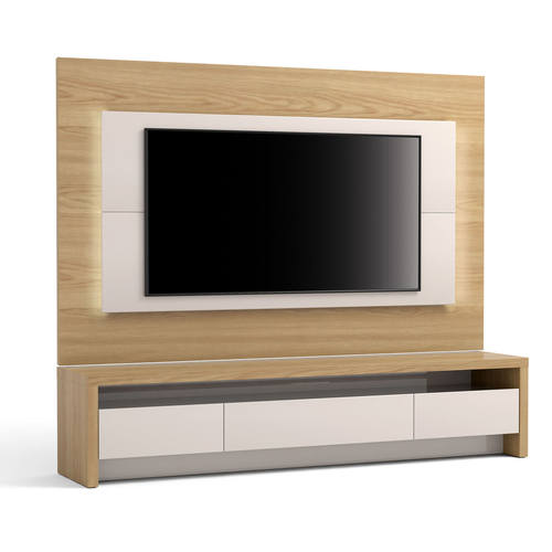 Sylvan 2 Piece 85 43 Inch Off White Natural Wood Tv Stand Panel W Led Lights