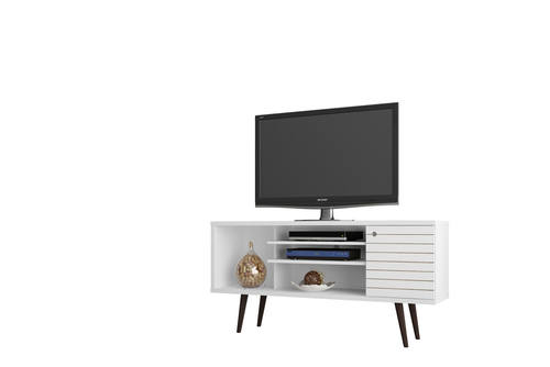 Liberty White 53 14 Inch Mid Century Modern Tv Stand W 5 Shelves