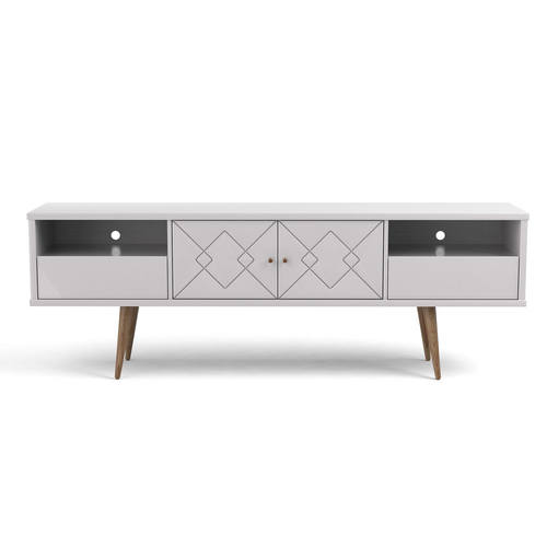 Trinity Mid Century Modern 70 86 Inch White Gloss Tv Stand W Solid