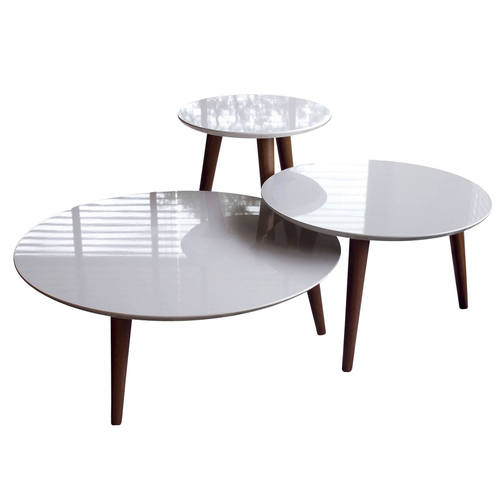 Moore Modern 3 Piece Off White Round End Table