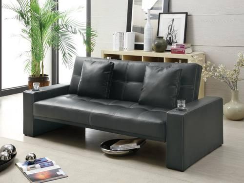 300125 Contemporary Style Black Futon Sofa Bed
