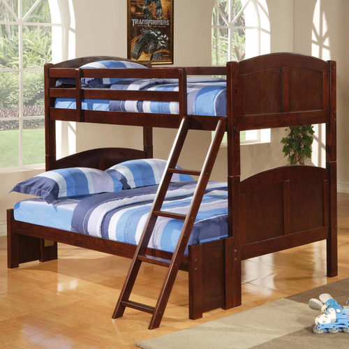 twin over full bunk bed in cappuccino finish by coaster