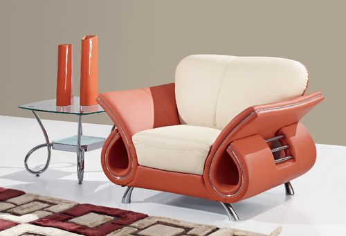 U559 Beige/Orange Leather Chair By Global Furniture