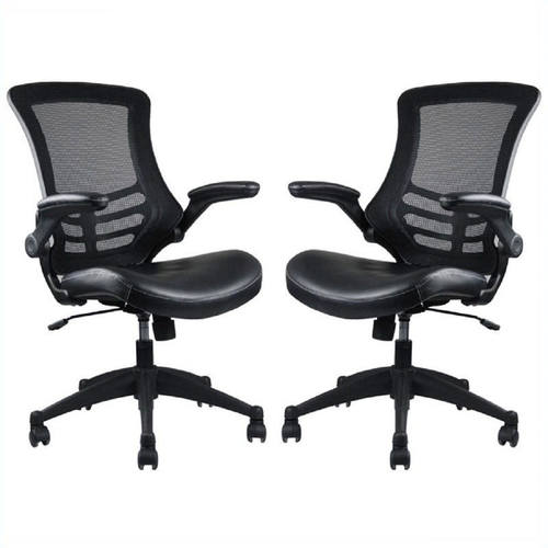 intrepid black high back office chair set of 2 by manhattan comfort
