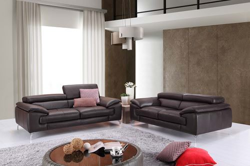 a973 premium italian leather sofa coffee by ju0026m furniture - Italian Leather Sofa