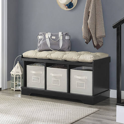 Essential 42 Inch Wood Storage Bench W Totes Cushion Black By